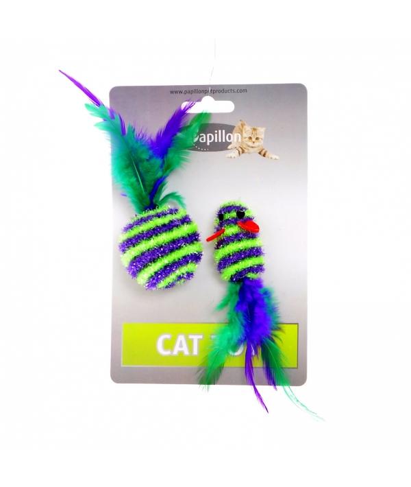 """Игрушка для кошек """"Мышка и мячик с перьями"""" 5+4см, в полоску, текстиль (Cat toy mouse 5 cm and ball 4 cm with feather on card) 240053"""