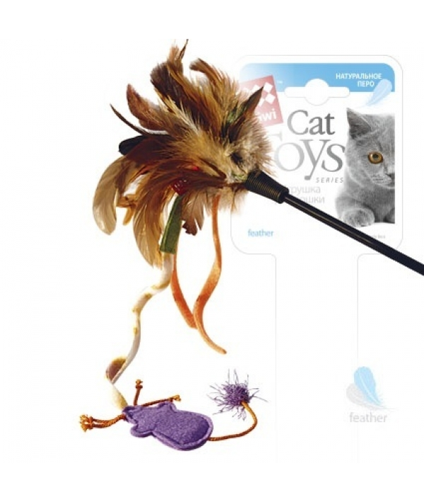 Игрушка для кошек Дразнилка с верёвкой. Натуральные некрашеные перья (75243)50328