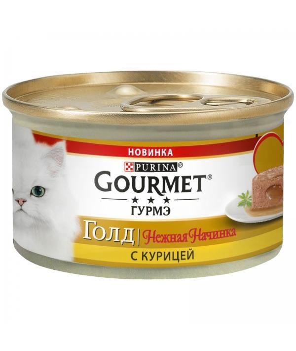 Консервы для кошек нежная начинка Gourmet Gold Курица (Melting Heart ) 12348455