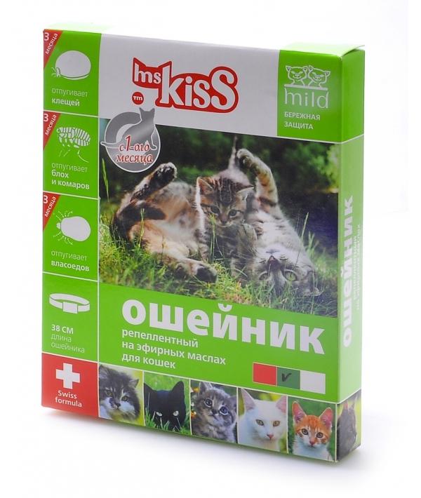 Ошейник от блох, клещей, комаров (защита – 3мес.) для котят с 4недель и кошек, 38см, зеленый MK05 – 00180