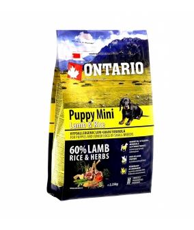Для щенков малых пород с ягненком и рисом (Ontario Puppy Mini Lamb & Rice 2,25kg) 214 – 10195