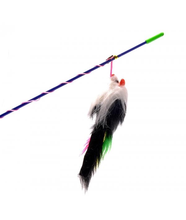 Игрушка для кошек Удочка с меховой мышкой и перьями (430267)16416