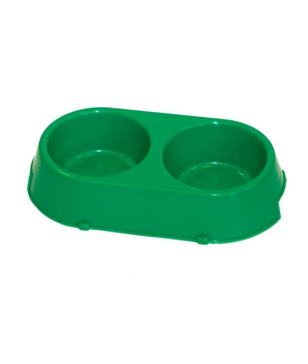 Двойная миска для собак пластиковая, 16,5*30см (1345)