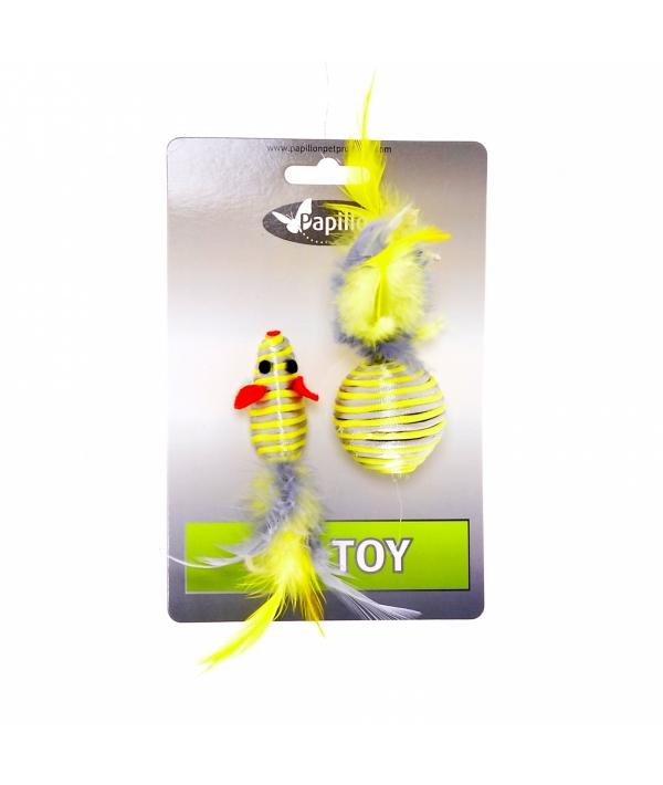 """""""Мышка и мячик с перьями"""" 5+4см серебряно – золотые (Cat toy mouse 5 cm and ball 4 cm with feather on card) 240072"""