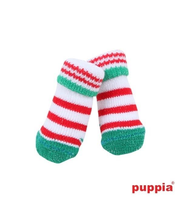 """Носочки для собак в полоску """"Гринч"""", зеленый, размер M (9 см х 3 см) (GRINCH /GREEN/M) PAOC – SO1270 – GR – M"""
