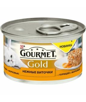 Консервы паштет для кошек Gourmet Gold нежные биточки с курицей и морковью, 12296405/12318139