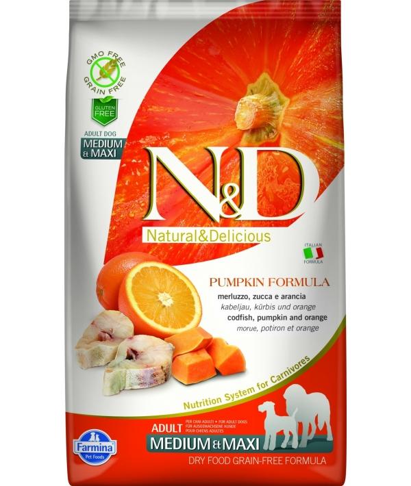 N&D GF Беззерновой корм для собак средних и крупных пород с тыквой, треской и апельсином 2038