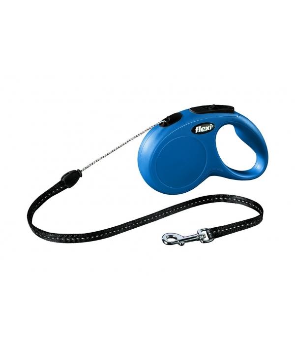 Рулетка – трос для собак до 20кг, 5м, голубая (New Classic M cord blue)