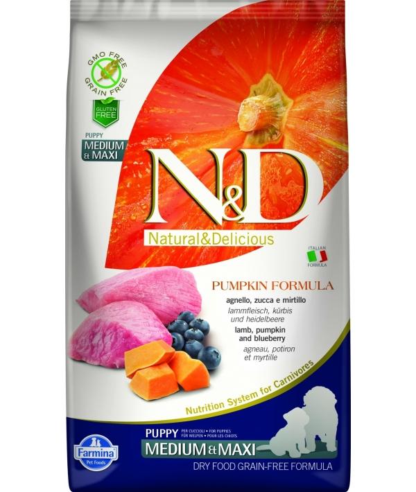 N&D GF Беззерновой корм для щенков средних и купных пород с тыквой, ягненком и черникой 2033