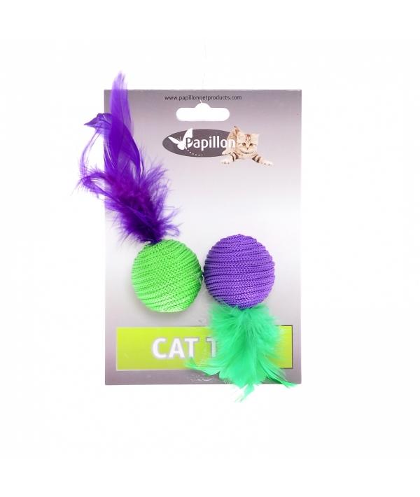 "Игрушка для кошек ""Два мячика с перьями"" 2х4см (Cat toy 2 balls 4 cm with feather on card) 240054"