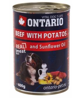 Консервы для собак: говядина и картофель (ONTARIO konz.Beef,Potatos,Sunflower Oil 800g) 214 – 2104