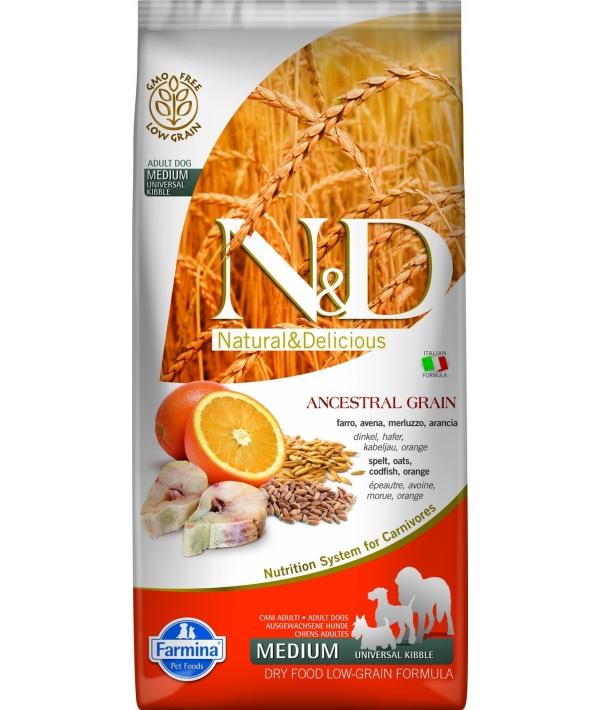 N&D LG Сухой корм для собак средних пород с треской и апельсином 4031