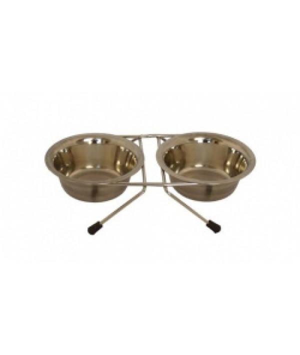 Две миски на подставке, 13см, 2 х 0,35л (Double dinner wire frame including bowls) 175404