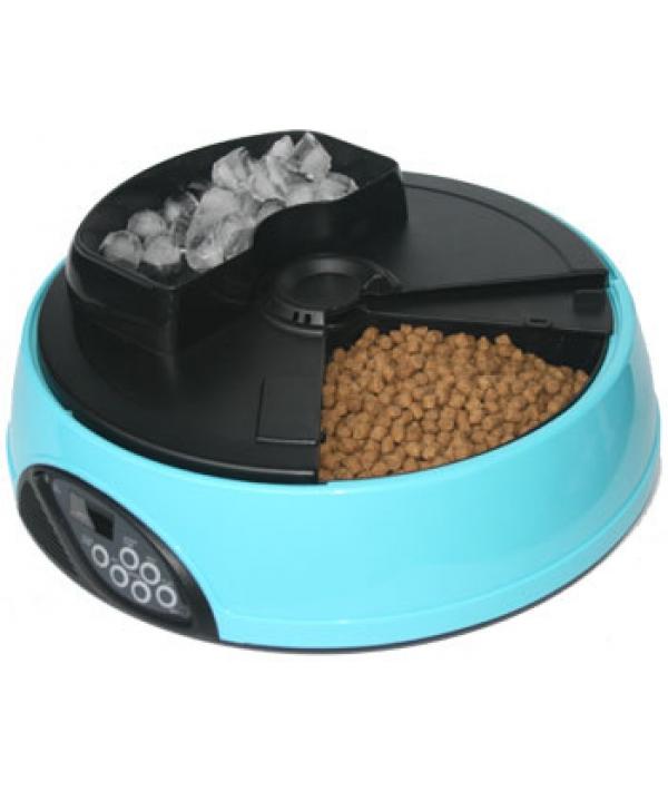 Автокормушка на 4кормления для сухого корма и консерв, с емкостью для льда Голубая PF1B