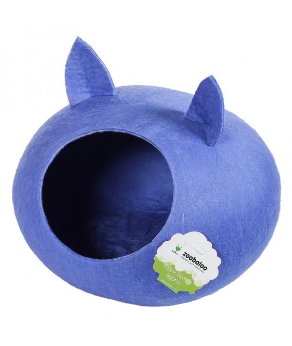 """Домик """"Уютное гнездышко"""" с ушками (шерсть, форма круг, синий) L: 40x40x20см (963)"""