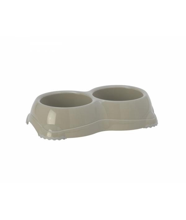 Двойная миска нескользящая Smarty, 2*330мл, теплый серый (double smarty bowl 1 – non slip 2 x 330 ml) MOD – H106 – 330.