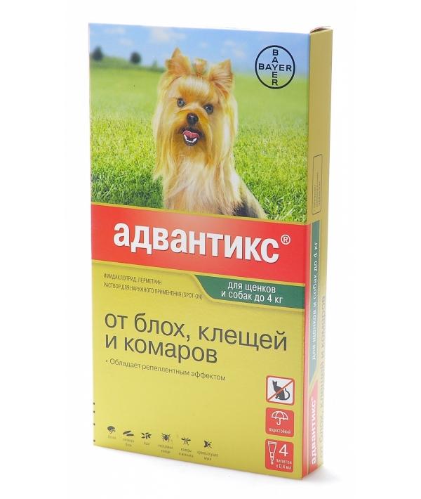 Адвантикс Капли д/собак до 4кг от блох, клещей, 4пипетки – 13269