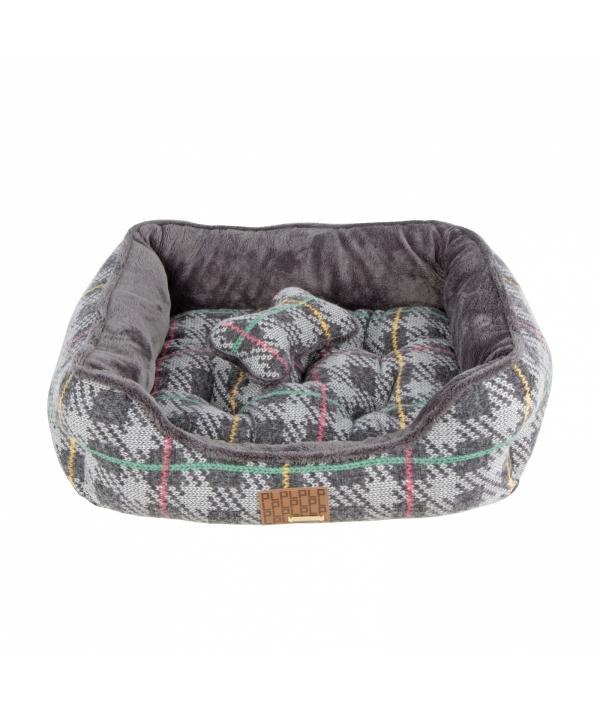 """Кровать – лежанка в клетку со сменной подушкой """"Элдрик""""+ игрушка – косточка, серый (49x38x18,5) (ELDRIC HOUSE/GREY/FR) PAQD – AU1465 – GY – FR"""