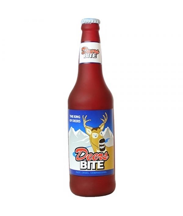 """Виниловая игрушка – пищалка для собак Бутылка пива """"Укус оленя"""" (Beer Bottle Deers Bite) SS – BB – DB"""