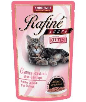 Паучи для котят коктейль из мяса домашней птицы и креветок (Rafiné Soupé Kitten)001/83389