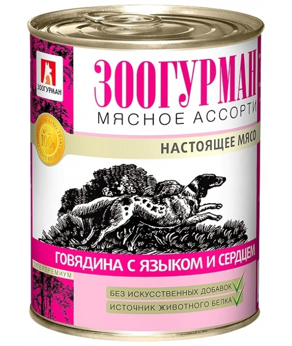 Консервы для собак Мясное Ассорти Говядина с языком и сердцем (2540)