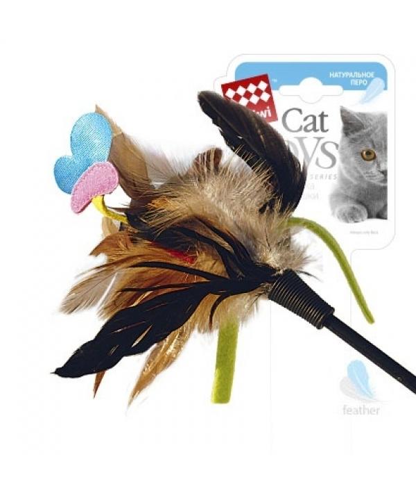 Игрушка для кошек Дразнилка с бабочкой с натуральными некрашеными перьями (75242)50327