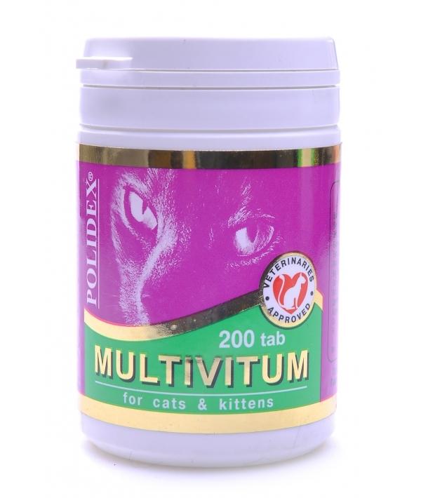 Поливитаминно – минеральный комплекс для кошек 200таб (Multivitum) 7833/17532