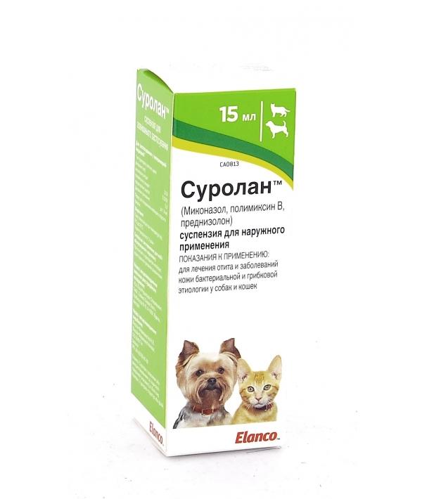 Суролан – ушные капли для лечения отита собак и кошек