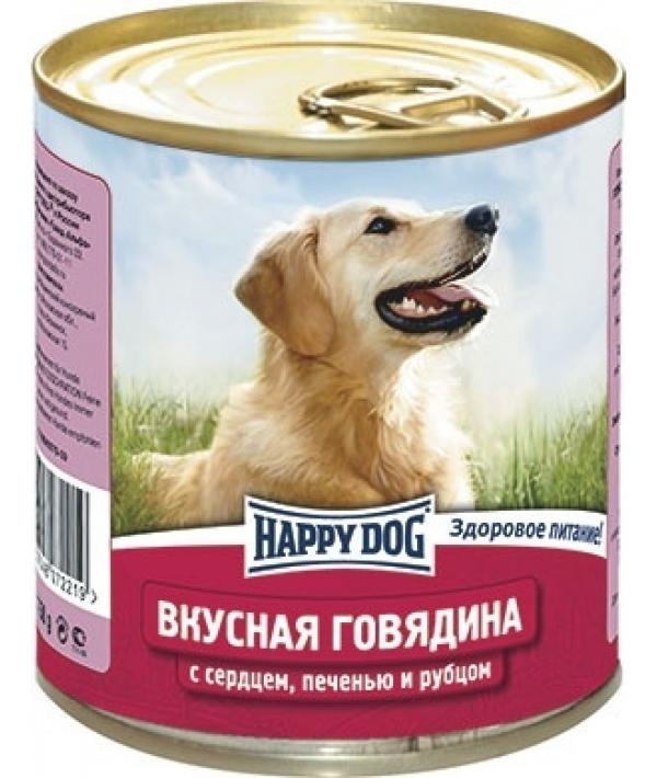 Консервы для собак с говядиной, сердцем, печенью и рубцом
