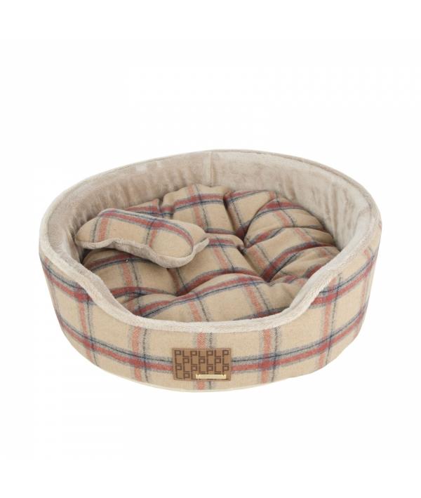 """Кровать – лежанка в клетку со сменной подушкой """"Кэмп""""+ игрушка – косточка, бежевый (47x47x17) (KEMP BED/BEIGE/FR) PAQD – AU1466 – BE – FR"""