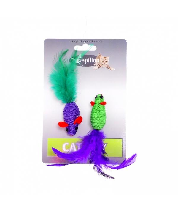 "Игрушка для кошек ""Две мышки с перьями"" 2х5см (Cat toy 2 mice 5 cm on card) 240055"