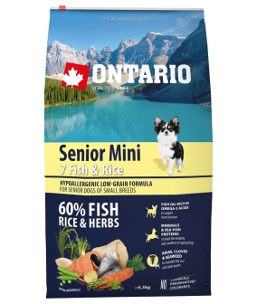 Для пожилых собак малых пород с 7 видами рыбы и рисом (Ontario Senior Mini 7 Fish & Rice 6,5kg) 214 – 11177