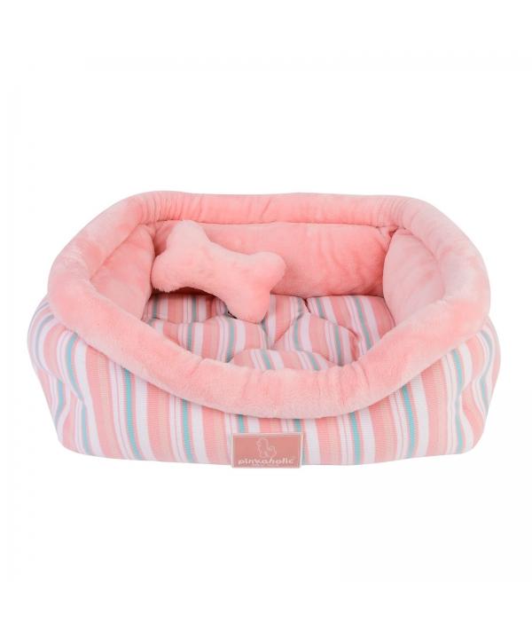 """Кровать – лежанка в полоску со съемной подушкой """"Кара"""", розовый+игрушка – косточка (55х50х15) (CARA BED/INDIAN PINK/FR) NASA – AU7401 – IP – FR"""