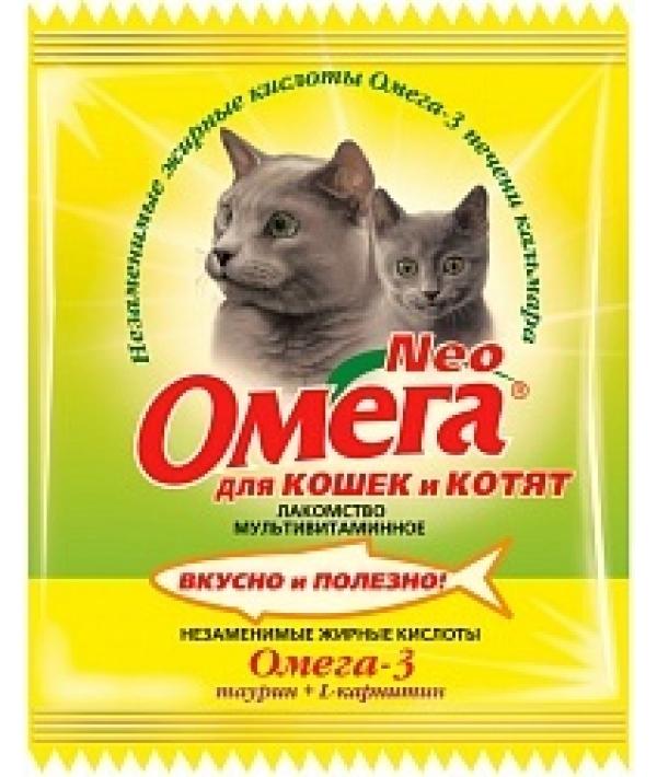 Омега Neo витамины для кошек и котят с таурином и L – карнитином,15 таб.(саше)
