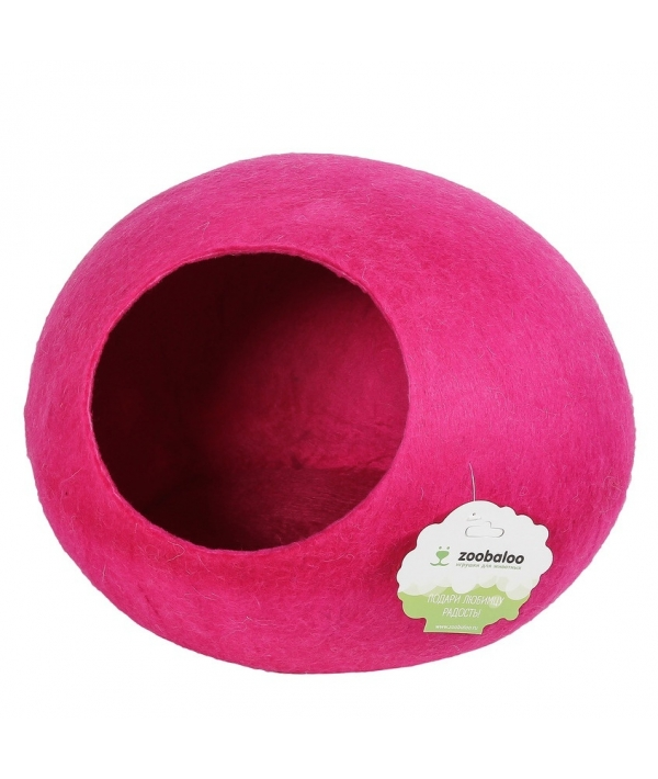 """Домик """"Уютное гнездышко"""" (шерсть, форма круг, малиновый) L: 40x40x20см (968)"""