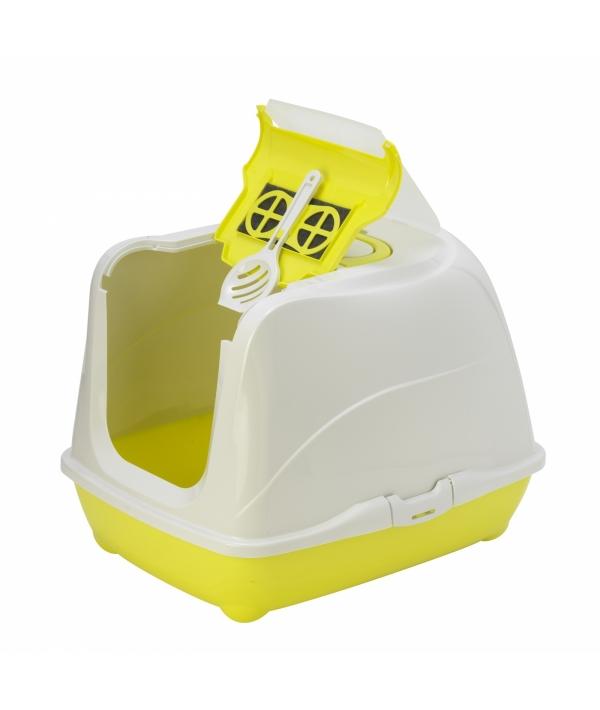 Туалет – домик Jumbo с угольным фильтром, 57х44х41см, лимонно – желтый (Flip cat 57 cm) MOD – C240 – 329 – B.