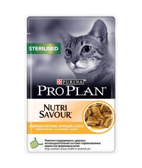 Паучи Кусочки в соусе для кастрированных кошек с курицей (Sterilised) 12249432