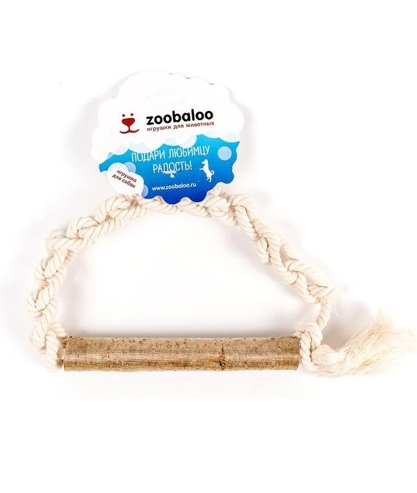 Игрушка для собак плетеное кольцо из каната с апортом из орешника, х/б 25 см (426)