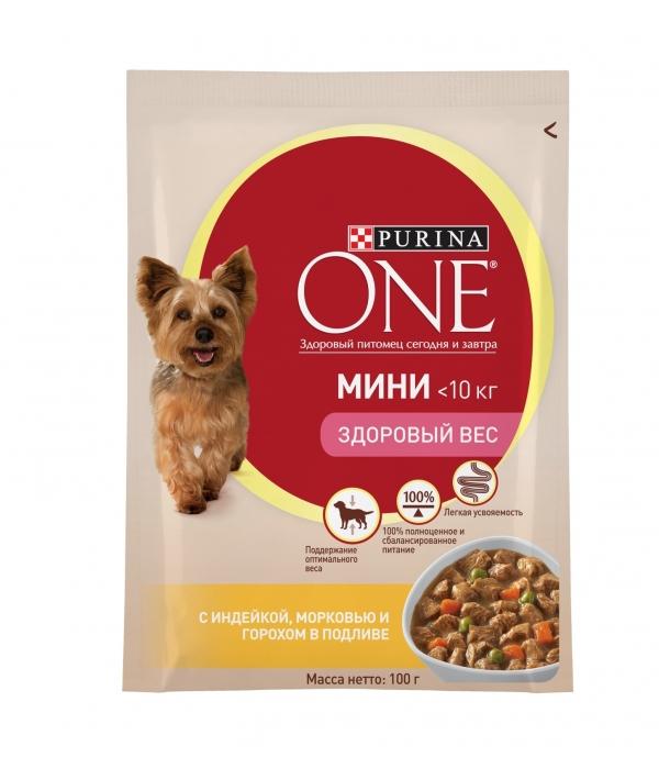 """Паучи для взрослых собак малых пород с индейкой, морковью и горохом в подливе """"Здоровый вес"""" (One My Dogis Foodlover) 12322248"""