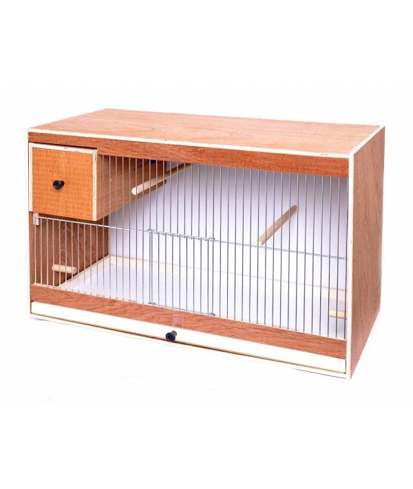 Деревянная клетка для птиц с гнездом арт. 50751, 62*30*40 см (Breeding cage wood cockatiels with nest and 2 plas) 14736