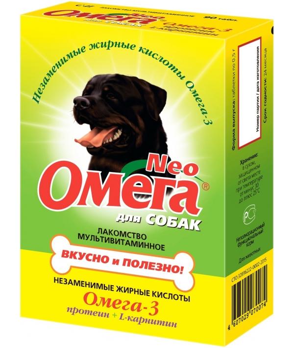 Омега Нео витамины для собак с протеином и карнитином, 90таб.(13018)
