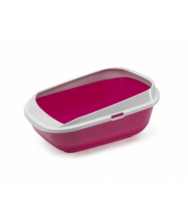 Туалет для кошек с рамкой с высокими бортами 57.4 x 42.7 x 25.5 см, ярко – розовый (Comfy Step – Hot Pink – P5) MOD – C289 – 0328 – 0041