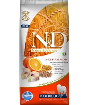 N&D LG Сухой корм для собак крупных пород с треской и апельсином 4032