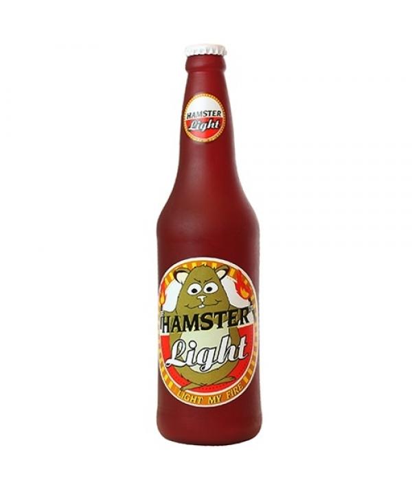 """Виниловая игрушка – пищалка для собак Бутылка пива """"Хомячок зажигает"""" (Beer Bottle Hamster Light) SS – BB – HL"""
