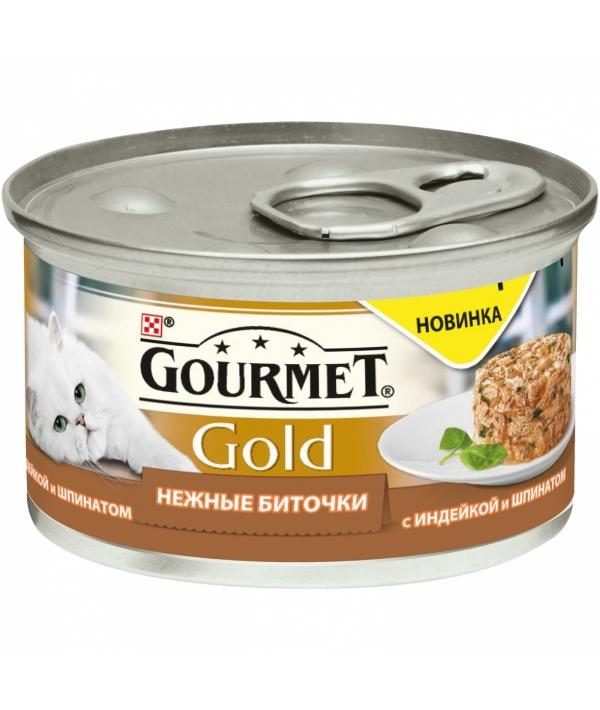 Консервы паштет для кошек Gourmet Gold нежные биточки с индейкой и шпинатом, 12296406/12318138