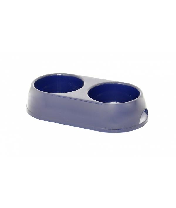 Двойная миска для собак пластиковая 12+12 см (Dog bowl dubble 12+12 cm) 548