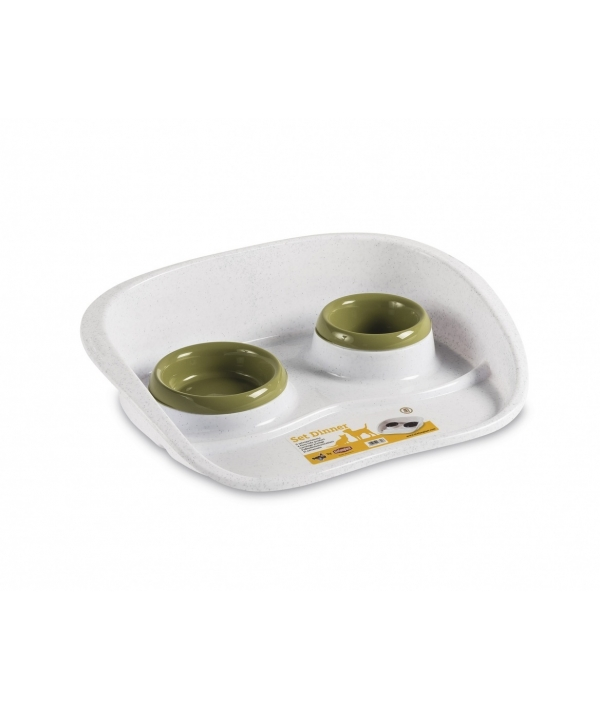Подставка Set Dinner бело – зеленая с мисками, 0,2 и 0,3л (97782)