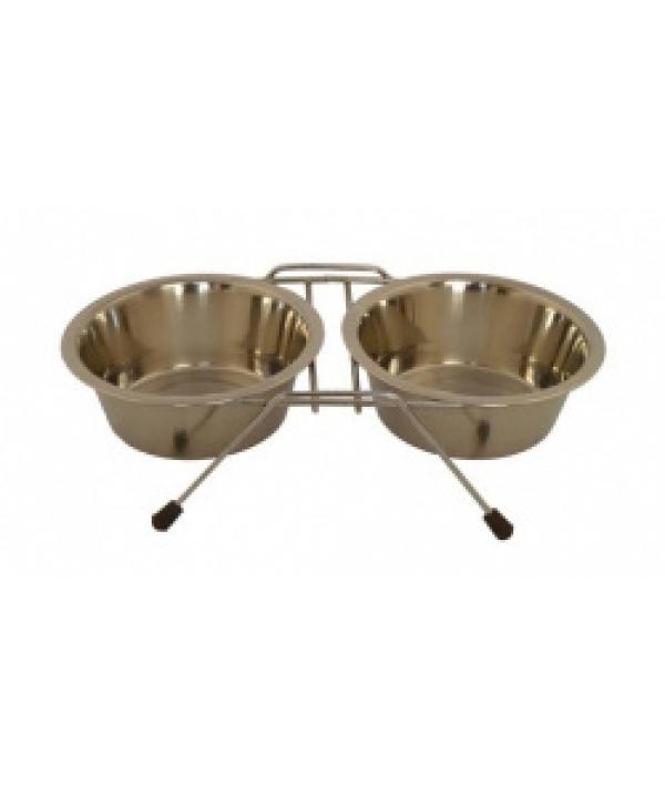 Две миски на подставке, 16см, 2 х 0,75л (Double dinner wire frame including bowls) 175408