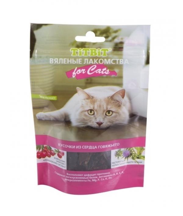 Вяленые лакомства Кусочки из сердца говяжьего для кошек