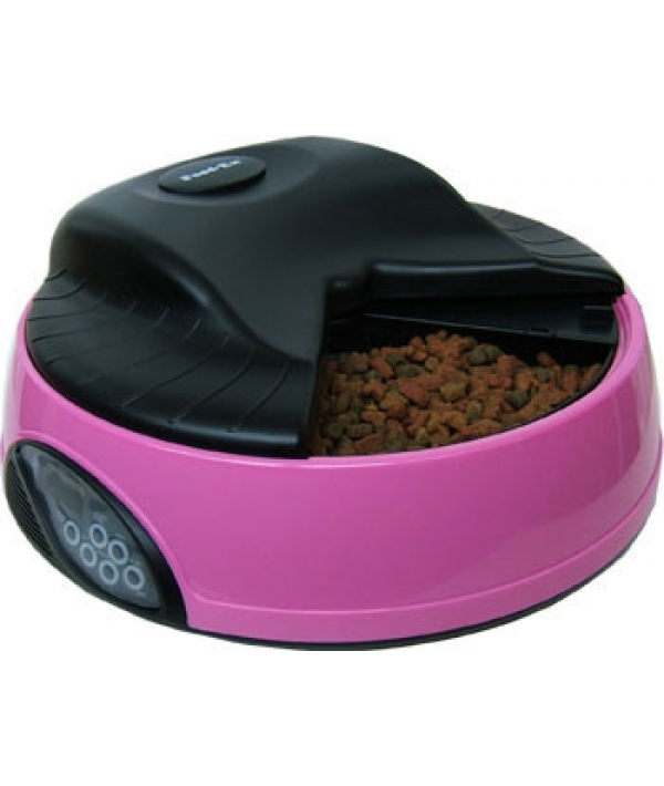 Автокормушка на 4кормления для сухого корма и консерв, с емкостью для льда Розовая PF1P